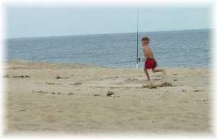 Running on Plum Island beach