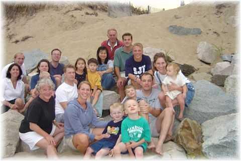 Family on plum island beach